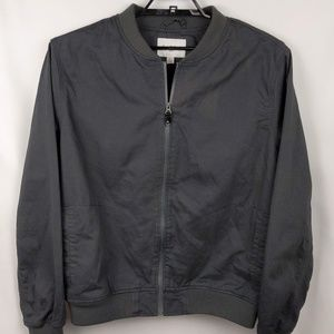Dark Gray Zip Front Canvas Lined Bomber Jacket